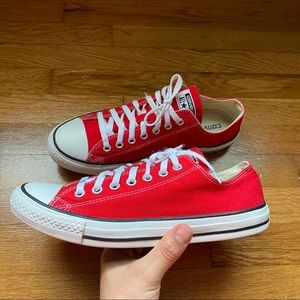 Red Converse Chuck Taylors Low Tops